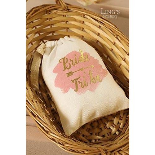 "Bride Savvy LLC -Your Bride Box Ling's moment 10pcs 5""x7"" Gold Foil Sparkly BRIDE TRIBE and Pink Watercolor Cotton Muslin Favor Bag with Drawstring For Wedding Bridal Shower Bachelorette Party Avoid Hangover Kit Favor Bag"