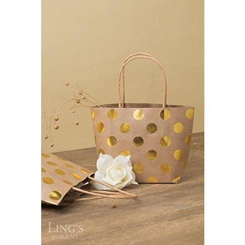 Bride Savvy LLC -Your Bride Box Ling's moment Summer Greenery Wedding Kraft Paper Bags Gift Bags with Handles Mini Golden Printed Polka Dots Shopping Firm Durable Reusable Retail Party Vintage Decorations Bridal Shower Baby Shower