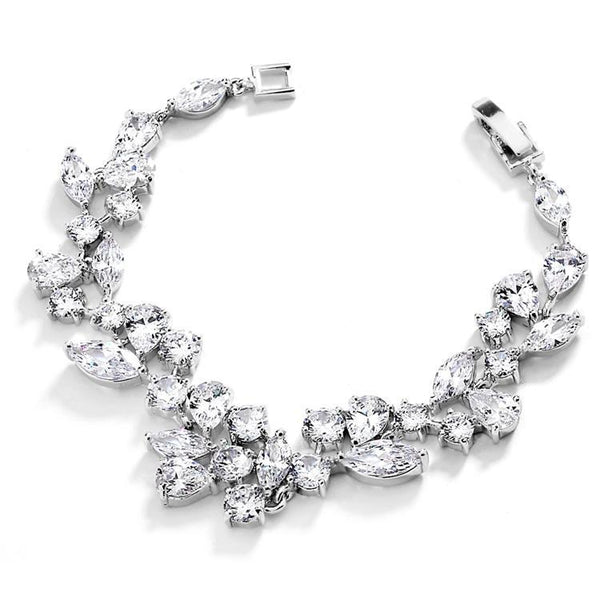 Bride Savvy LLC -Your Bride Box Mosaic Shaped Bracelet in Silver Rhodium