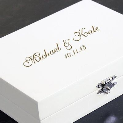 Bride Savvy LLC -Your Bride Box Personalized Mr Mrs Ring Bearer Pillow Keepsake Box with Jewelry Inserts and Mini Love Favor Frame