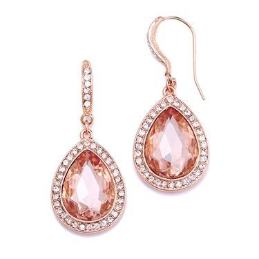 Bride Savvy LLC -Your Bride Box Rose Gold Teardrop Earrings with Blush Crystal Accents