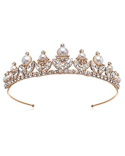 Bride Savvy LLC -Your Bride Box Tiara Jewel Rose Crystal & Pearl Tiara