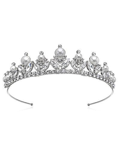 Bride Savvy LLC -Your Bride Box Tiara Jewel Silver Crystal & Pearl Tiara