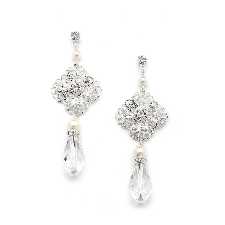 bridebox Jewelry Filigree Bridal Teardrop Earrings with Pearl and Crystal Dang
