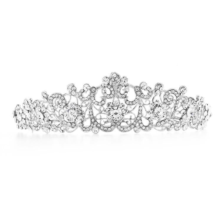 bridebox Tiara Graceful Silver Scrolls Crystal Bridal Tiara