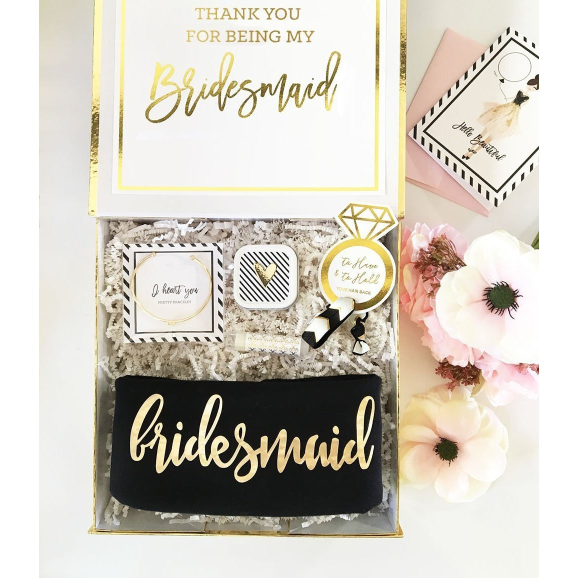 Event Blossom Golden Bridesmaid Proposal/Thank You Gift Box (Black)