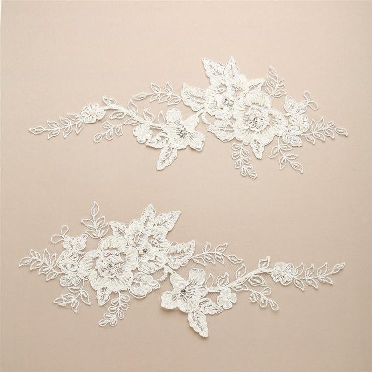 Marielle Applique Floral Motif Embroidered Lace Appliques with Beads, Pearls and Crystals
