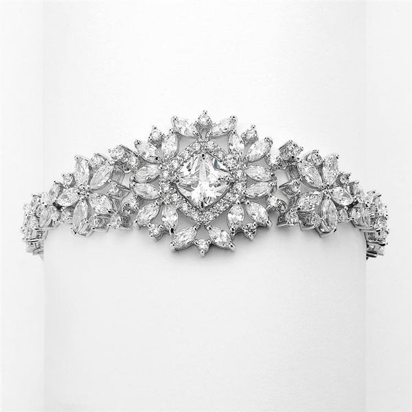Marielle Bracelets Dramatic CZ Bridal Bracelet with Cushion Cut Center