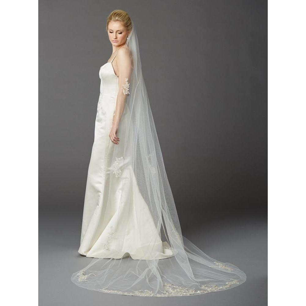Marielle Cathedral Veil with Silver Embroidered Beaded Lace