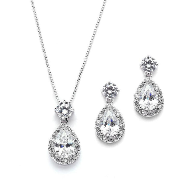 Marielle Earrings Brilliant Halo Pear Shaped Necklace and Earrings Set