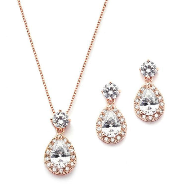 Marielle Earrings Brilliant Halo Pear Shaped Rose Gold Necklace and Earrings Set