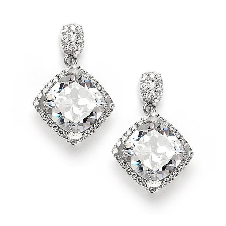 Marielle Earrings Micro Pave CZ Cushion Cut Wedding Earrings