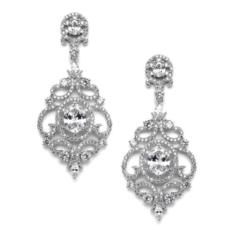 Marielle Earrings Platinum Plated Art Deco Scroll Earrings