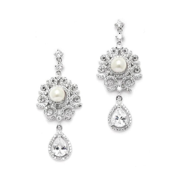 Marielle Earrings Platinum Plated Micro Pave Scroll Earrings with Ivory Pearls