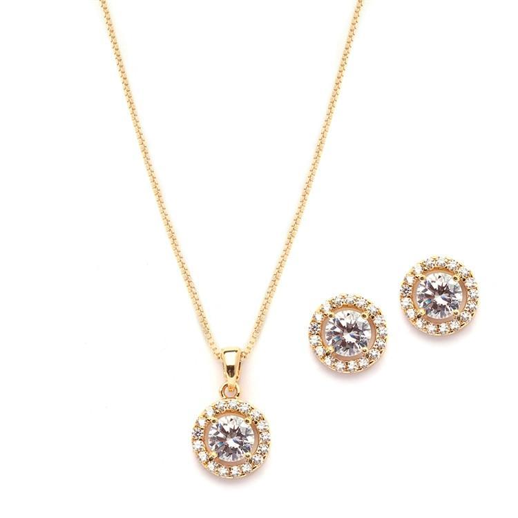 Marielle Earrings Round Halo Necklace and Stud Earrings Set