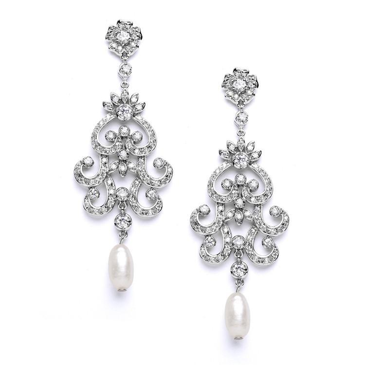 Marielle Earrings Vintage Chandelier Earrings with Cubic Zirconia & Freshwater Pearls