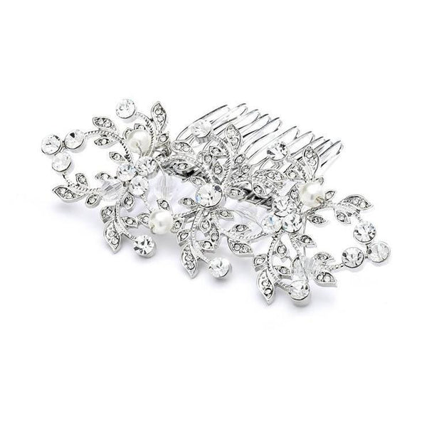 Marielle Hair Embelishments Antique Crystal & Peal Hair Comb