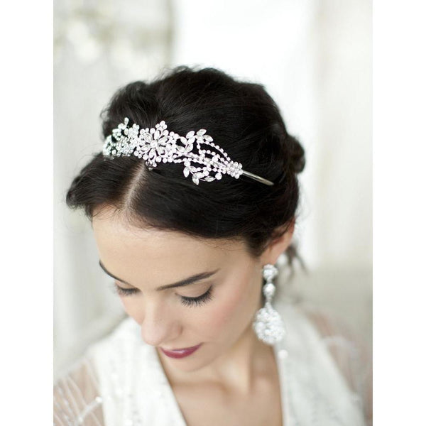 Marielle Hair Embelishments Crystal Wedding Headband or Tiara with Vintage Art Deco Floral Design
