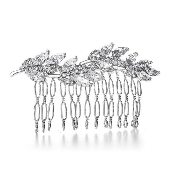 Marielle Hair Embelishments Delicate Crystal Leaf Hair Comb