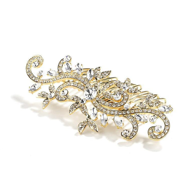 Marielle Hair Embelishments Golden Comb with Pave Crystal Vines