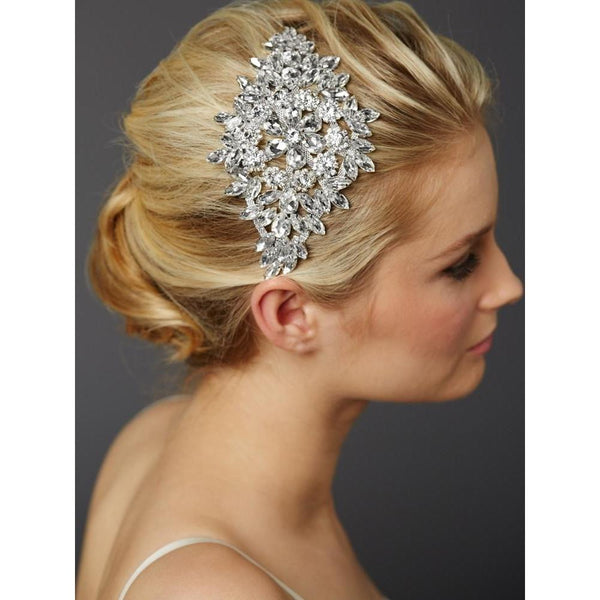Marielle Hair Embelishments Magnificent Bridal Headpiece with Bold Crystal Sunburst
