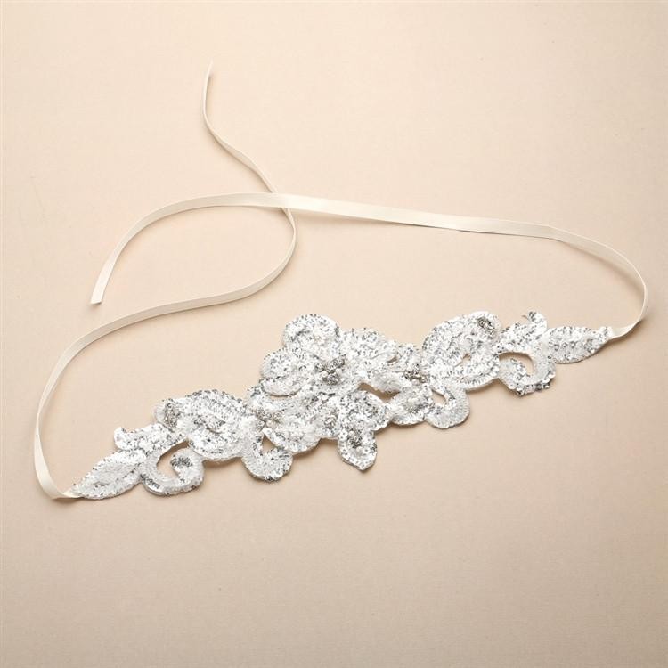 Marielle Headbands Hand-Made Glistening Silver Sequin Lace Bridal Headband