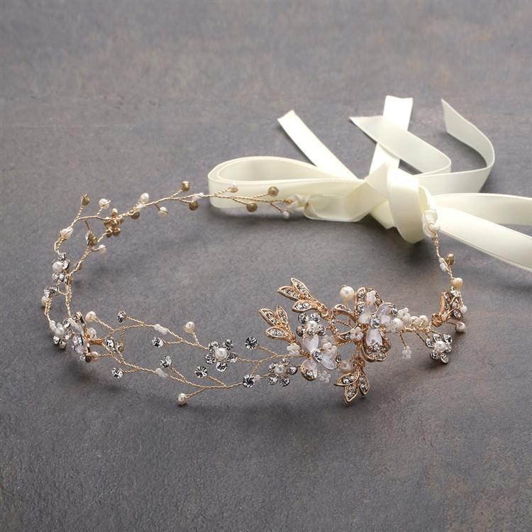 Marielle Headbands Handmade Bridal Headband with Painted Gold Vines