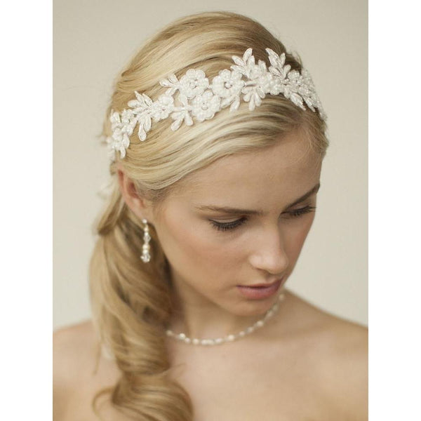 Marielle Headbands Lace Applique Garden Headband with Meticulous Edging