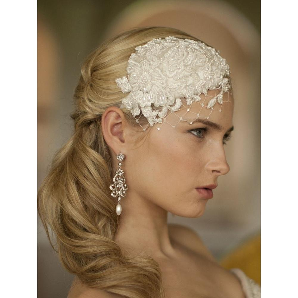 Marielle Headbands Retro Lace and Silk Cocktail Hat with Netting