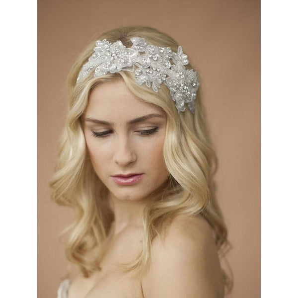 Marielle Headbands Sculptured Beaded Lace Headband with Crystals