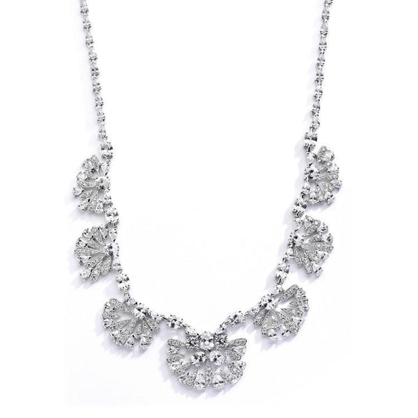 "Marielle Jewelry Art Deco ""Fan"" Design Cubic Zirconia Wedding Necklace"