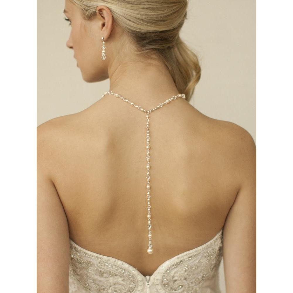Marielle Jewelry Crystal & Pearl Back Necklace