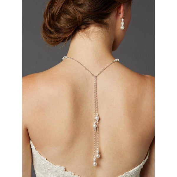 Marielle Jewelry Handmade Adjustable Pearl Back Necklace with Lariat Dangles -