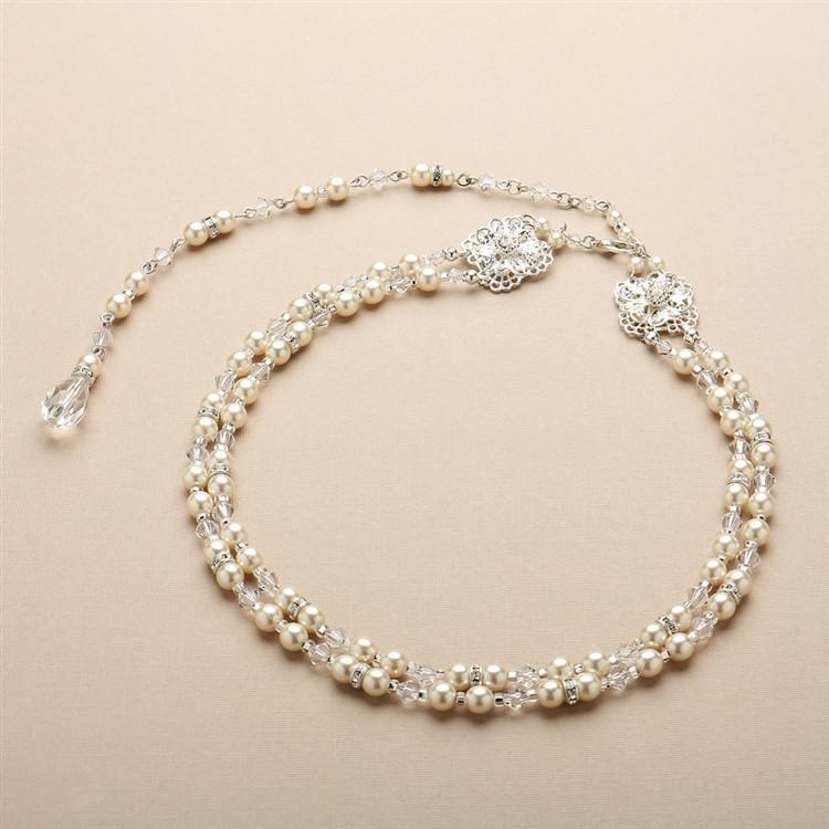 Marielle Jewelry Pearl and Filigree 2-Row Bridal Back Necklace