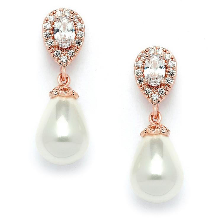 Marielle Jewelry Rose Gold & Pearl Drop Earrings