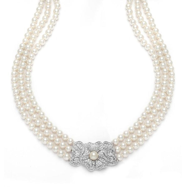 Marielle Jewelry Victoria 3-Row Vintage Pearl Necklace