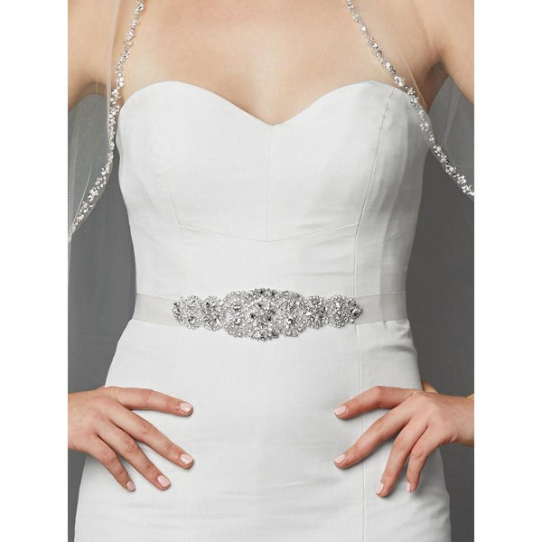 Marielle Luxurious Crystal and Pearl Applique Bridal Sash