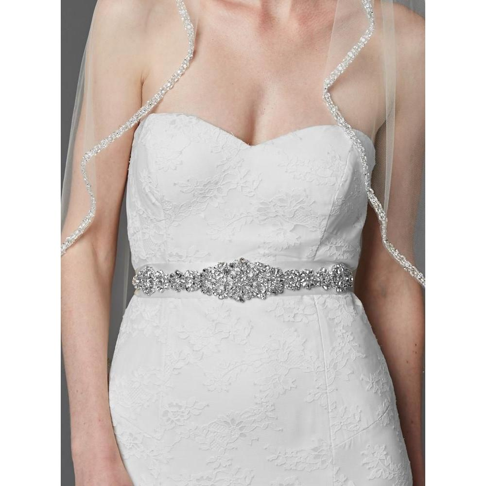 Marielle Sash Bejeweled Bridal Sash with Breathtaking Genuine Crystal Applique