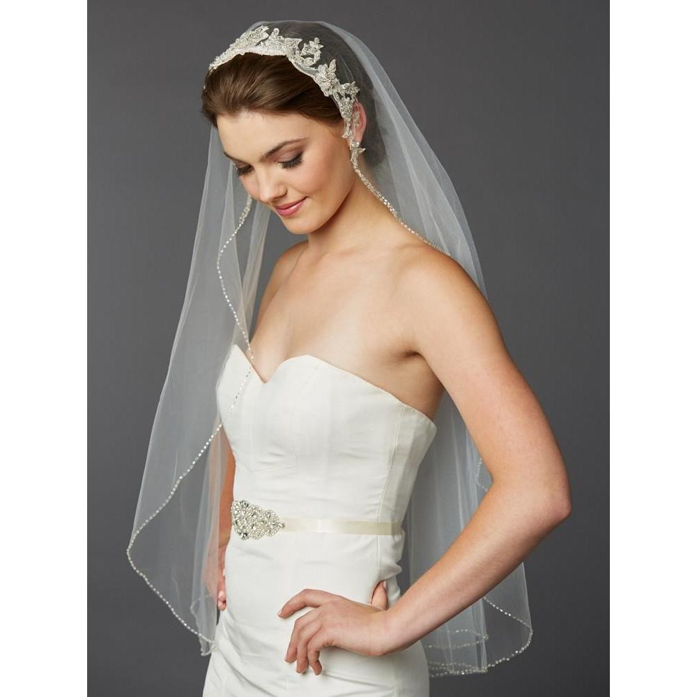 Marielle Veils Beaded Fingertip Veil with Embroidered Silver Lace Applique