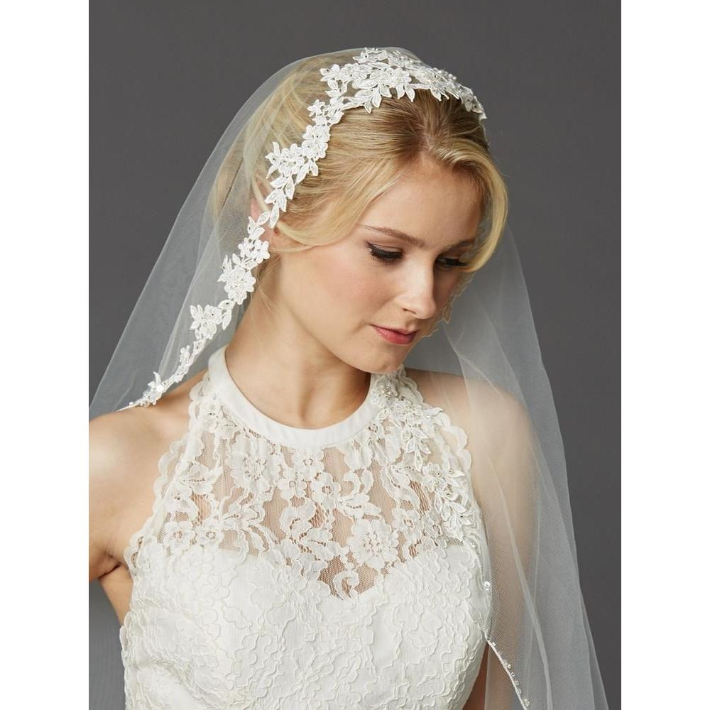 Marielle Veils Copy of Gardenia One Tier Bridal Veil with Beaded Lace Top