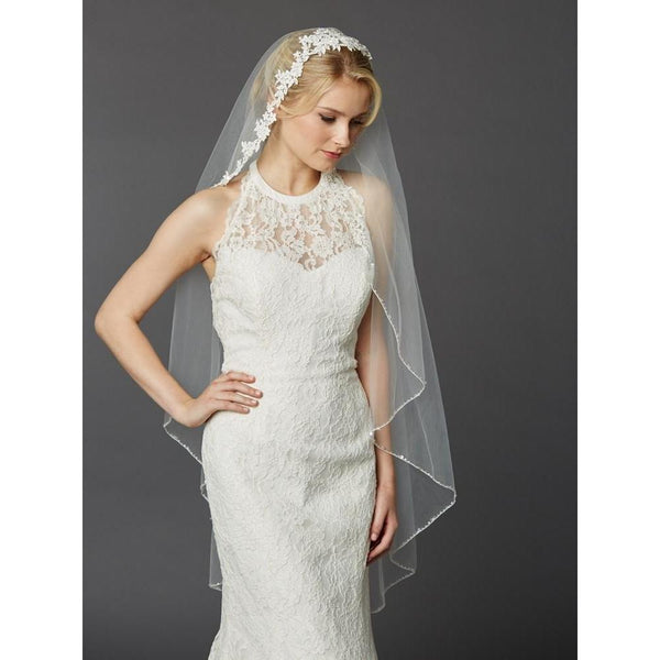 Marielle Veils Gardenia One Tier Bridal Veil with Beaded Lace Top