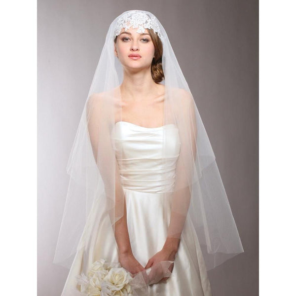 Marielle Veils Renaissance Beaded Lace Applique Juliet Veil