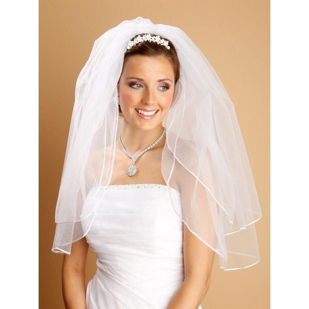 Marielle Veils Two Layer Veil with Rounded Satin Cord Edge