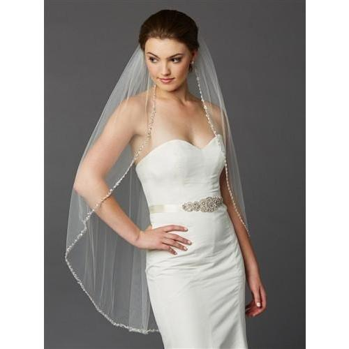Marielle Viels Beaded Edge Long Fingertip Wedding Veil