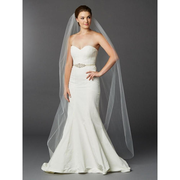 Marielle Viels Chapel or Floor Length Single Layer Cut Edge Veil