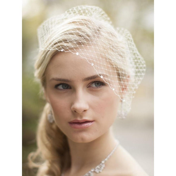Marielle Viels French Net Birdcage Veil with Swarovski Crystals