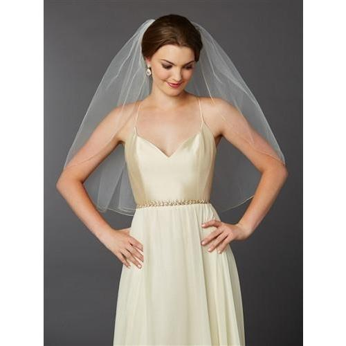 Marielle Viels Gold Pencil Edge Classic Single Layer Veil