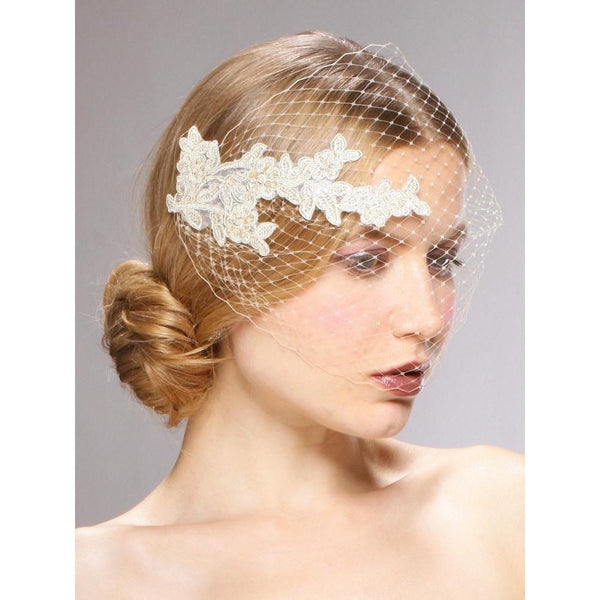 Marielle Viels Handmade French Netting Bandeau Bridal Veil with Vintage Lace