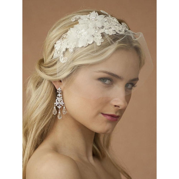 Marielle Viels Handmade Headband with Ivory European Lace Applique & Petite Veil