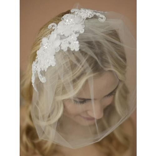 Marielle Viels Handmade Tulle Birdcage Blusher Veil with Double Flower Lace Applique